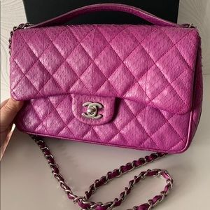 feb8f62bbbce Chanel Classic Pink Python Leather Bag,Exclusive